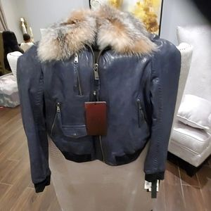 Andrew Marc leather Jacket 35 anniversary dark blu